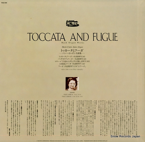 ALAIN, MARIE-CLAIRE toccata and fugue FCCA856 - back cover