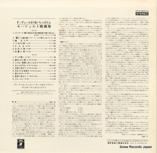 FISCHER=DIESKAU, DIETRICH, AND DANIEL BARENBOIM mozart; lieder EAA-80074 - back cover