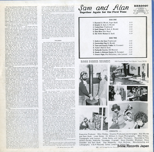 SAM AND ALAN together again for the first time RRR0007 - back cover