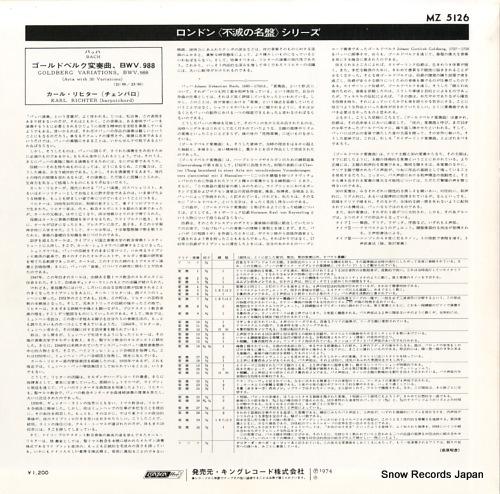 RICHTER, KARL bach; goldberg variations, bwv.988 MZ5126 - back cover