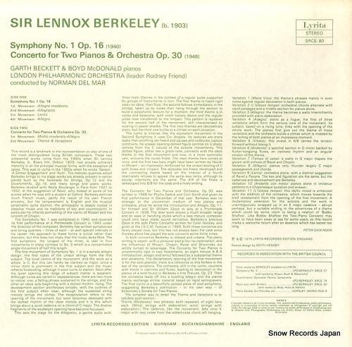 DEL MAR, NORMAN berkeley; symphony no.1 SRCS.80 - back cover