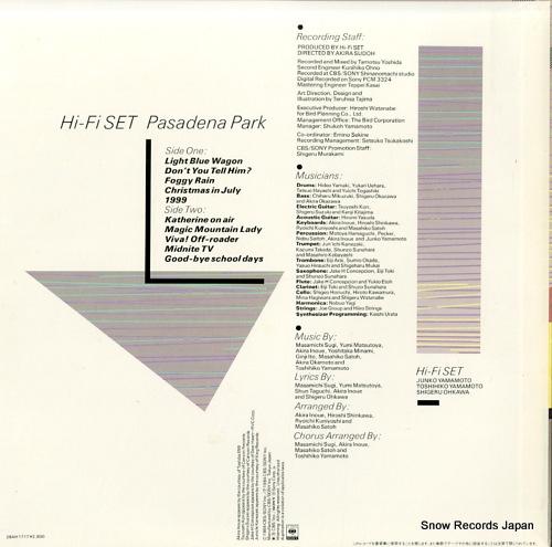 HI-FI SET pasadena park 28AH1717 - back cover