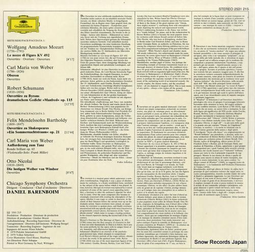 BARENBOIM, DANIEL deutsche ouverturen 2531215 - back cover