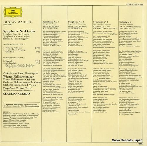 ABBADO, CLAUDIO mahler; symphonie nr.4 2530966 - back cover