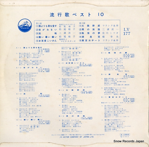 V/A ryukouka best 10 LV-177 - back cover