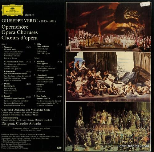ABBADO, CLAUDIO verdi; opera choruses 2530549 - back cover