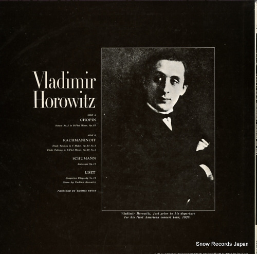 HOROWITZ, VLADIMIR works by chopin schumann rachmaninoff and liszt SOCL1150 - back cover