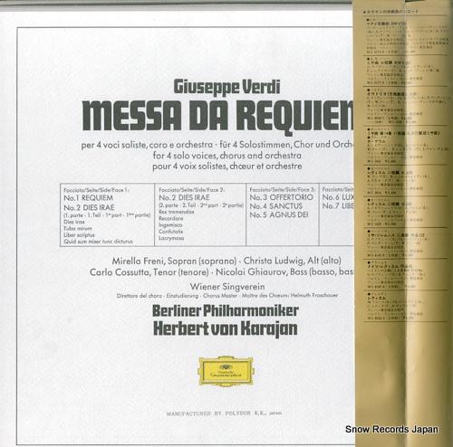 KARAJAN, HERBERT VON verdi; messa da requiem MG8022/3 - back cover