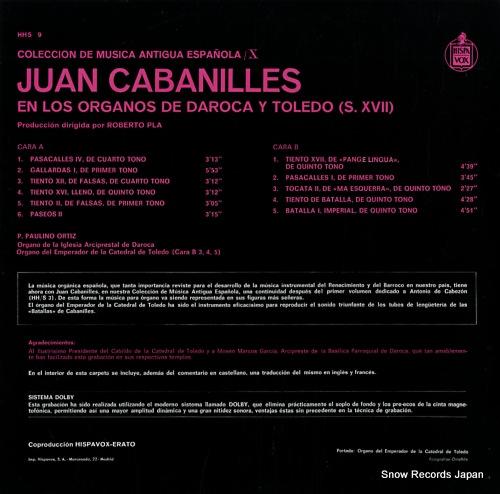 ORTIZ, PAULINO cabanilles; en los organos de daroca y toledo HHS9 - back cover