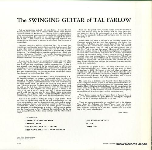 FARLOW, TAL the swinging guitar MV4018 - back cover