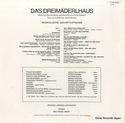 EBERT, WOLFGANG schubert-berte; das dreimaiderlhaus 1C061-28821 - back cover