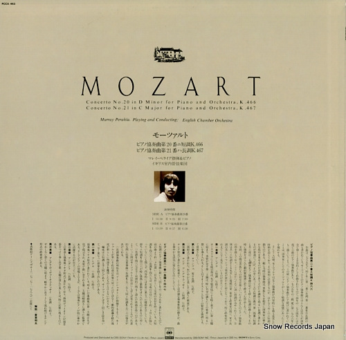 PERAHIA, MURRAY mozart; concerto no.20 in d minor for piano and orchestra, k.466 FCCA463 - back cover
