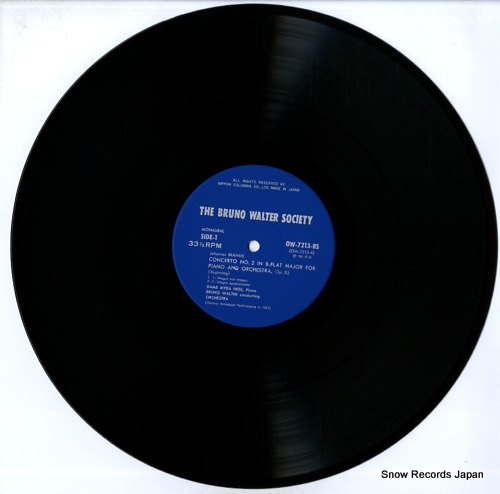 WALTER, BRUNO brahms; concerto no.2 in b-flat major, op.83 OW-7213-BS - disc