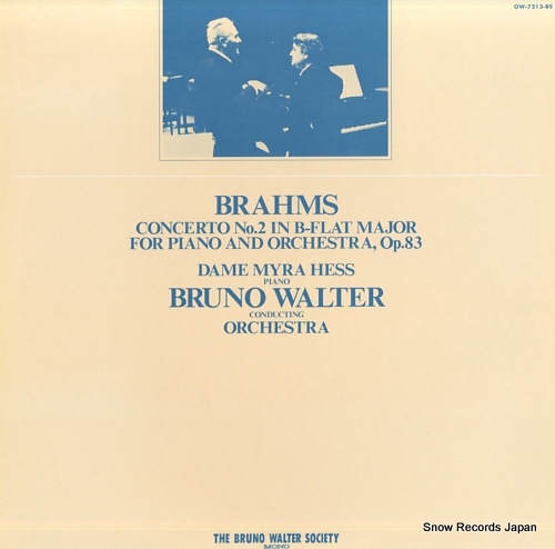 WALTER, BRUNO brahms; concerto no.2 in b-flat major, op.83 OW-7213-BS - front cover