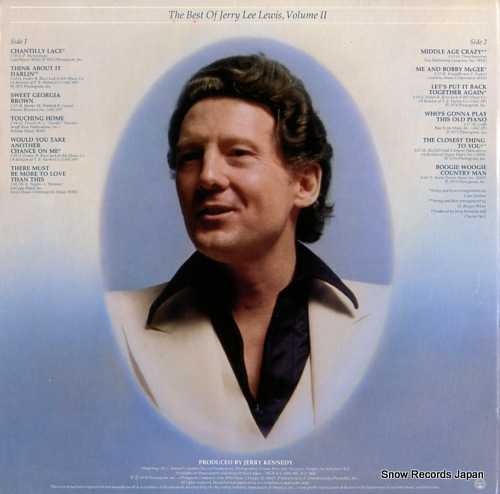LEWIS, JERRY LEE the best of jerry lee lewis vol.2 SRM-1-5006 - back cover