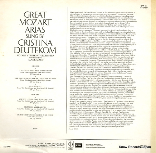 DEUTEKOM, CRISTINA great mozart arias CFP164 - back cover