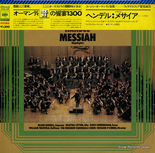 ORMANDY, EUGENE handel; messiah highlights 13AC285 - front cover