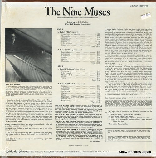 ROBERTS, NEIL the nine muses - suites for harpsichord KS-506 - back cover