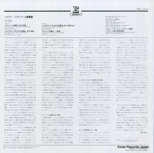 ANDRE, MAURICE josef haydn; concerto pour trompette et orchestre REL1013 - back cover