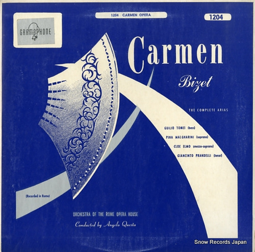 QUESTA, ANGELO bizet; complete arias from the opera carmen ROYALE1204 - front cover