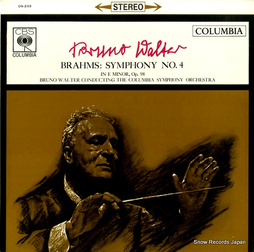 WALTER, BRUNO brahms; symphony no.4 OS-233 - front cover