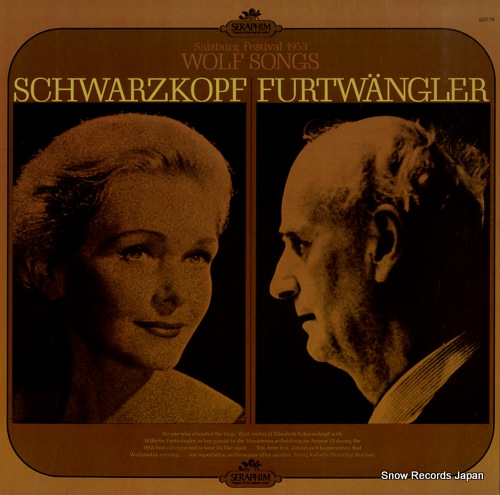 FURTWANGLER, WILHELM salzburg festival 1953 wolf songs SERAPHIM60179 - front cover