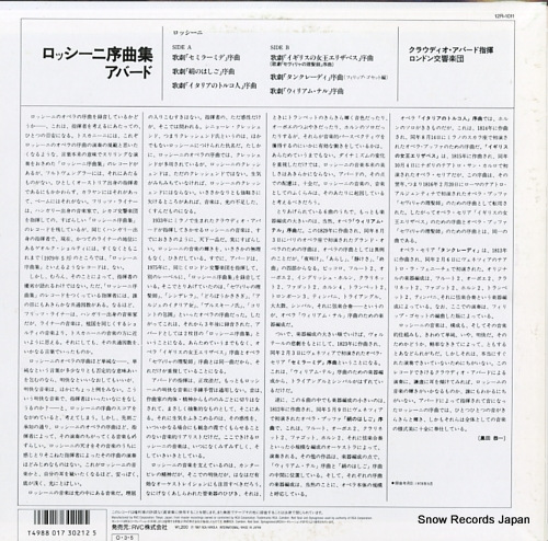 ABBADO, CLAUDIO rossini; ouvertures 12R-1011 - back cover