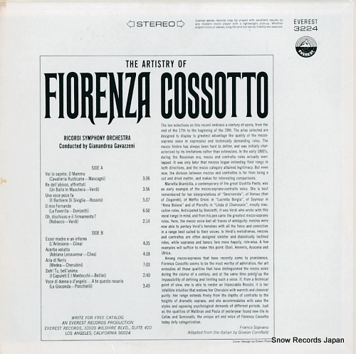 COSSOTTO, FIORENZA the artistry of fiorenza cossotto EVEREST3224 - back cover