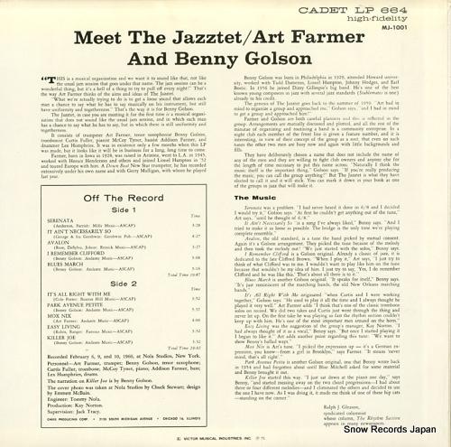 FARMER, ART meet the jazztet MJ-1001 - back cover